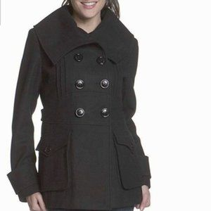 MISS SIXTY Gray Envelope Collar Wool Pea-Coat XL